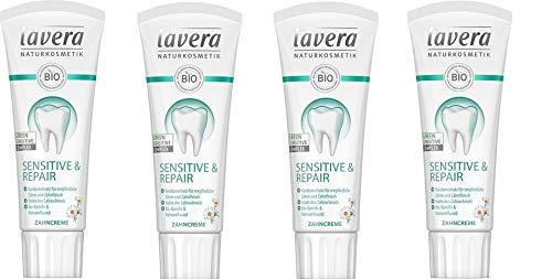 Lavera Zahncreme Sensitive und Repair - mit Bio-Kamille und Natriumfluorid, 4 x 75ml