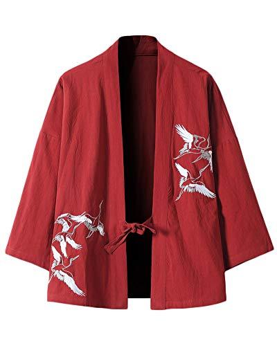 ZhuiKunA Hombre Mujer Camisa Kimono Estilo Japonés Estampado Holgado Cloak Cardigan