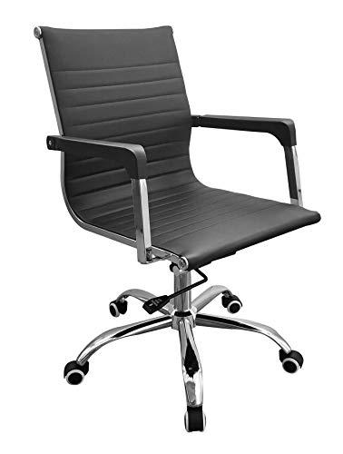 Home Source Schreibtischstuhl mit Kunstleder-Rückenlehne, Schwarz, Chromsockel