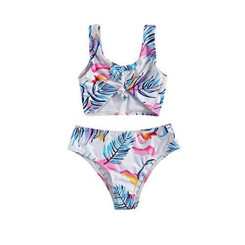 Toddler Girl - Traje de baño de 2 piezas - Conjunto de bikini - Camiseta de tirantes - Pantalones cortos para la playa - Traje de baño Outfit Flor 6-7 Años