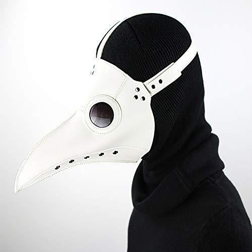 Sxgyubt - Máscara de peste con boca de pájaro para Halloween, fiesta de vacaciones, baile, accesorios de baile y decoración de fiesta de Halloween, blanco