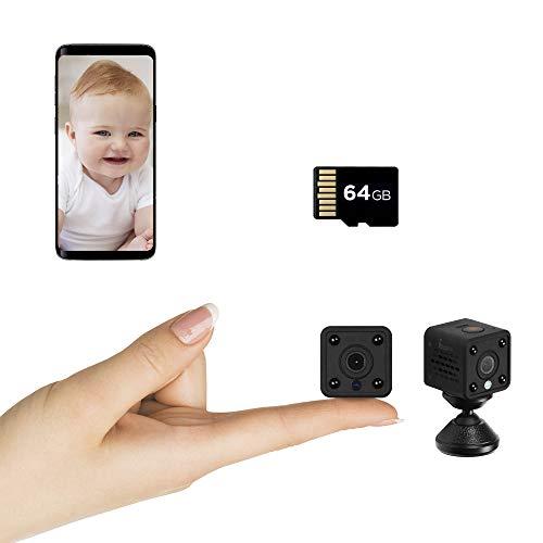 Insygrow ® Mini Telecamera Wifi Scheda Sd 64 Gb Inclusa Microcamera Con Visione Notturna Portatile Camera Wifi Da Interno Con Rilevamento Di Movimento Videocamera Sorveglianza Senza Fili Da Esterno