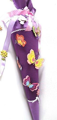Hobby Welt kreativ Schultüte Bastelset Schmetterlinge,85 cm Selbstklebende Schultüte mit Zubehör