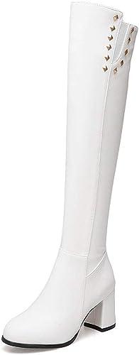 FCXBQ Remache botas Altas, Tacón Alto Cremallera Lateral botas De Rodilla Gruesas con Cabeza rojoonda plataforma Impermeable Tubo Largo botas Elásticas zapatos Antideslizantes para mujer