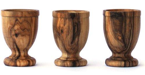 EIERBECHER-SET AUS OLIVENHOLZ von Mastro Leonardo (3 Stück) - Handarbeit aus Italien