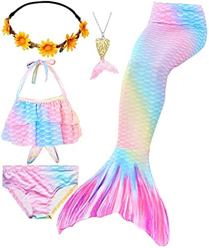 Le SSara Set 5 Pezzi Code da Sirena per Nuotare Costume da Bagno per Ragazze Code di Sirena Principessa Bikini 3-12 Anni (No Monofin) (GB15(YGold), 7-8 Anni)