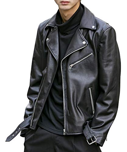 (ロンドンデニム) London Denim メンズ ブルゾン シープ レザー ダブル ライダース ジャケット 02-38-7431 48(M) ブラック