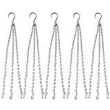 Lainrrew 5 Pcs Hanging Chains, 3 Point 16 Inch Flower Pot Basket Chain Garden Plant Hangers Hanging Chain for Bird Feeders Planters Lanterns (Silver)