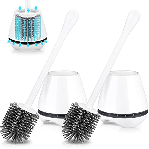 TRENTI Toilet Brush with Holder 2 Pack, Silicone Toilet Brush Set with Ventilated Holder and Long Ergonomic Handle, Flexible Silicone Toilet Brushes for Bathroom