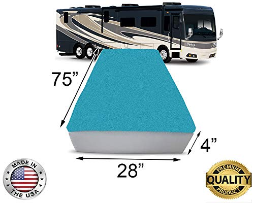 "FoamRush 4-Inch Bunk (28"" x 75"") Mattress Cooling Gel Memory Foam RV Mattress Replacement, Medium Firm, Comfort, Pressure Relief Support, Made in USA, Travel Camper Trailer Truck, Cover Not Included"