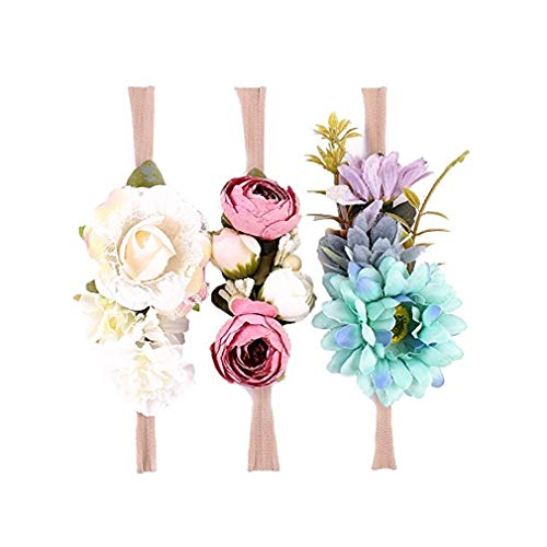 Flower Crown Diadema de Flores elásticas Baby Girl Corona Floral Corona Accesorios para el Cabello recién Nacido (3 Colors Pack - B)