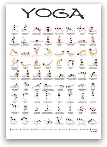 Cartel de yoga Surya Namaskar Secuencia Sun impresiones Hatha Yoga Asanas Gráfico Lienzo Pintura Gimnasio Arte de la pared Girls Yoga Decoración Decoración de Yogis Regalo 50x70cm sin marco