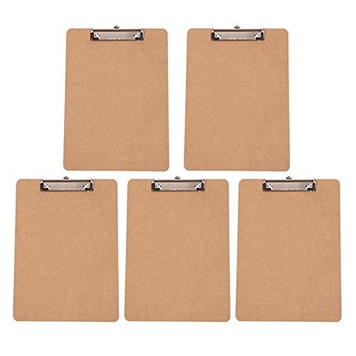 Carpetas Paquete de portapapeles de 5 tableros de clip estándar para uso en el aula y oficina de bajo perfil Clip de bajo perfil A4 Tamaño de letra Utilizado en escuelas y oficinas (Color : As pic)