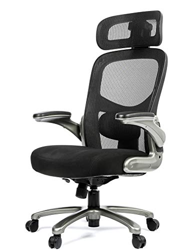 OFFICE FACTOR Ergonomic Big and Tall Office Chair Flip-Up arms, Mesh Office Chair, Swivel Office Chair with Anti Scratch Caster Wheels, 500 Lbs Rated Mesh Executive Chair (Black with Headrest)
