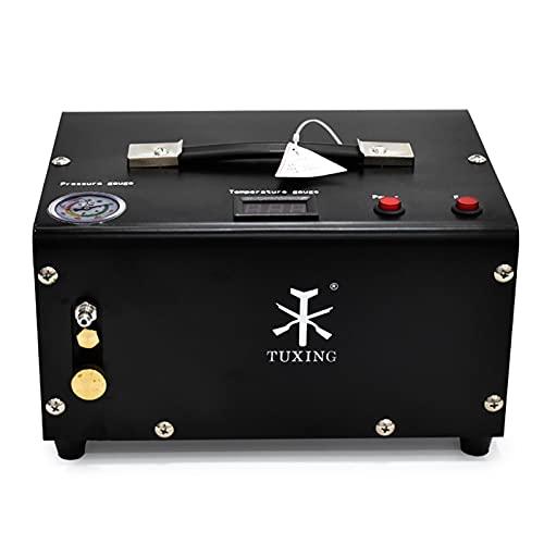 TUXING 300Bar 30Mpa, compresor portátil de 12 V para PC, sin aceite, alimentación de 12 V CC o 220 V CA para el hogar con adaptador, rifle de aire inflador para PC(TXET061-1)