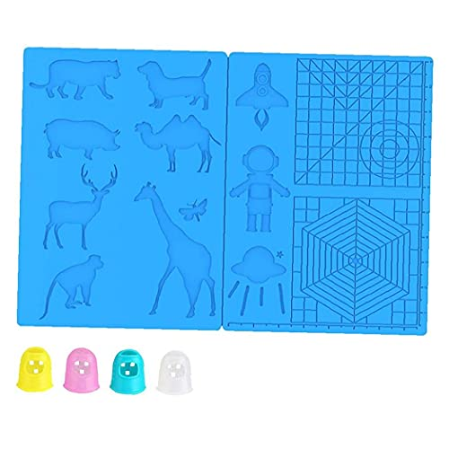 finebrand 3D Pen Mat Printing Silicone Basic Template Animal Patterns Drawing Tools with 4 Finger Protectors