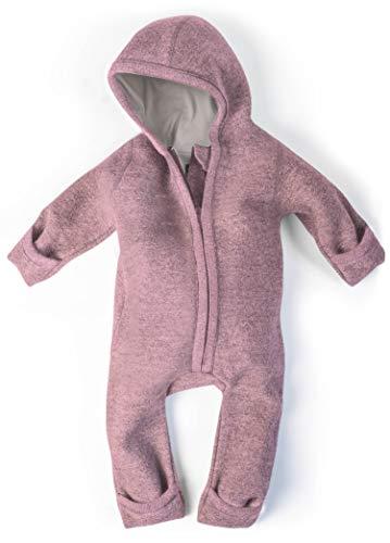Ehrenkind® WALKOVERALL | Baby Wollwalk-Overalls aus Natur Schurwolle mit Reißverschluss | Walk Wolle Woll-Anzug für Kleinkind und Baby | Altrosa Gr. 74/80