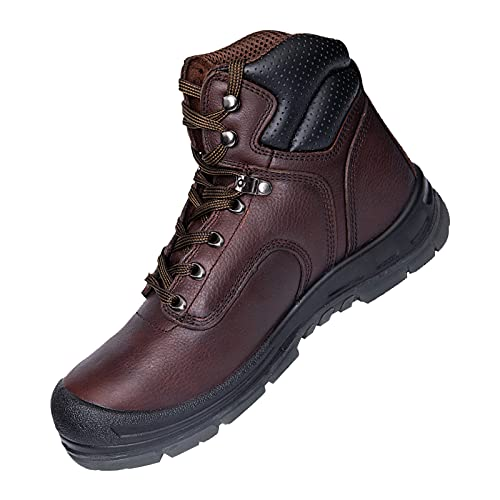 BOIWANMA Work Safety Boots for Men with Steel Toe Durable Full-Grain Leather Safety Shoes, Wide Work Boots for Men Footwear Ankle Support Industrial & Construction Boots, Size 13 Dark Brown