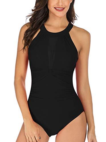 Septangle Women High Neck Halter One Piece Swimsuit Tummy Control Swimsuits Mesh,US 16 Black
