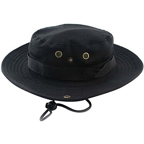 Gosear® 2 en 1 Unisexe Chapeau Casquette Large Brim Cowboy Hat Pêche Chapeau de Cowboy Escalade Sun Bucket Chapeau de Cowboy Noir