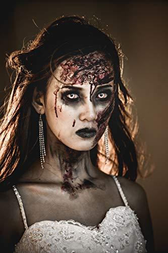 aricona Farblinsen – deckend weiß – farbige Kontaktlinsen ohne Stärke – Zombie Night Augenlinsen für Halloween, bunte 12 Monatslinsen - 7
