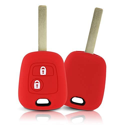 ASARAH Couvercle de clé en Silicone Premium Compatible avec Peugeot, Couvercle de Protection pour clés de Voiture, Couvercle pour Type de clé 2BK - Rouge