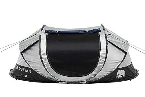 DERYAN Luxe Cocoon Reisezelt - Pop-Up - Aufbau in 2 Sekunden - Anti-UV - geeignet für 2 Personen - Silber/Schwarz