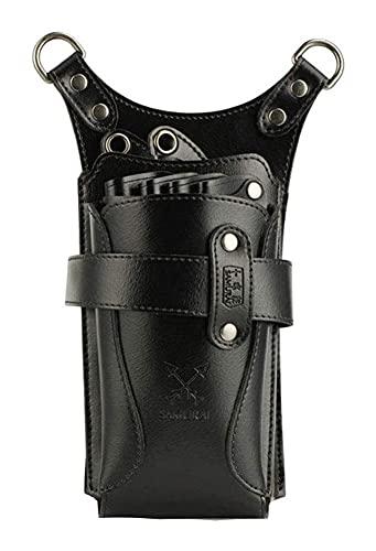 Bolsa de Corte de Pelo Desmontable Peluquería Scissor Bolsa Funda Holster Scissors Palo Palos Luz y portátil con Longitud Ajustable Cinturón de Hombro (Color : Black)