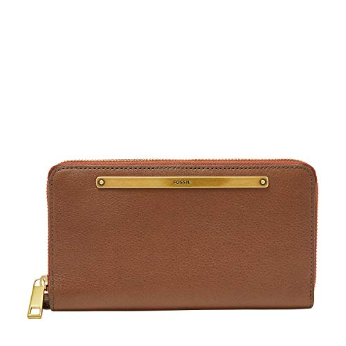 Fossil Women's Liza Leather Wallet Zip Around Clutch with Wristlet Strap, Brown