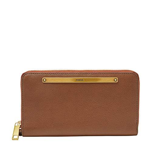 Fossil Women's Liza Leather Zip Around Clutch Wallet, Brown