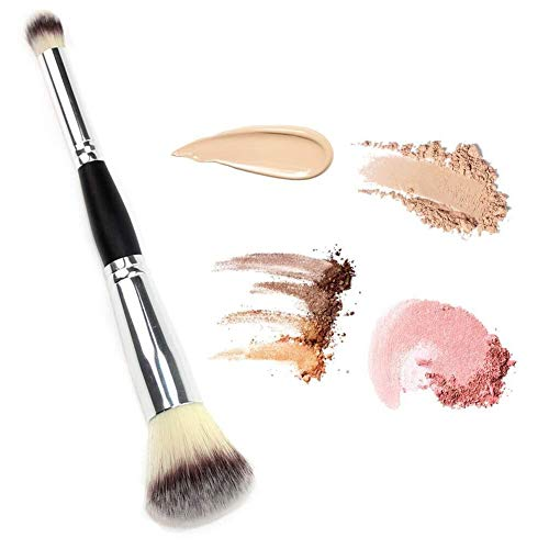 DAGEDA Double Ended Complexion Brush Face Concealer Powder Makeup Brush, Blending Liquid Foundation, Cream Cosmetics - Eye shadow brush, Blush brush, Black Handle, Vegan brush(Silver)