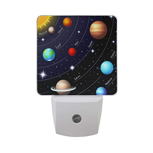 AOTISO 2 Pack Magic Outer Space Planet Solar System Night Light Dusk to Dawn Sensor Plug in Night Home Decor Desk Lamp