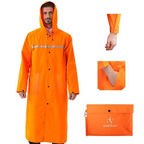 ioutdoor Regenmantel 100% Wasserdicht, der Extra Lange Regenschutz mit Taschen / Reflexstreifen / Kordelzughauben / Reißverschluss / Knopf, 3 Farben, 3 Größen