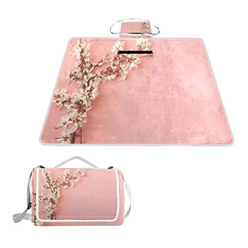 XINGAKA Picknickdecke,Frühlingskirschblütenbaum auf rosa Hintergrund Pastell Japanisches Design,Outdoor Stranddecke wasserdichte sanddichte tolle Picknick Matte