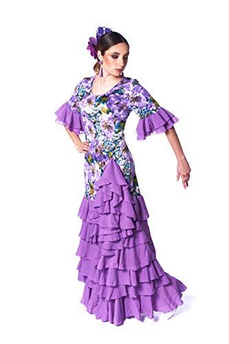 ANUKA Damen Ballkleid Flamenco Sevilla Ballkleid Blumenmuster, 3/4-Ärmel mit Volant. Stretch-Gewebe Hergestellt in Spanien. L Lila