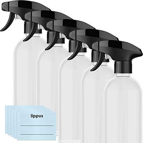 lippus Leere Sprühflaschen [5 STÜCK] Set 500ml + beschriftbare Etiketten – 3-Modi Sprühköpfe – Extra stabil und langlebig - Ideal für Reinigungsmittel, Blumen- und Pflanzensprüher