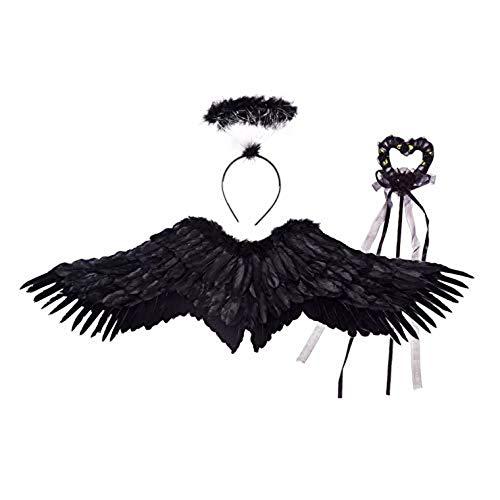 thematys Juego de 3 Piezas de Disfraz de ángel para niños en 2 Colores Diferentes - alas, Cinta para el Pelo y Varita mágica Carnaval y el Cosplay. (Negro)