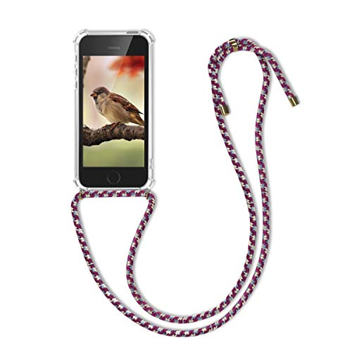 kwmobile Custodia Compatibile con Apple iPhone SE (1.Gen 2016) / 5 / 5S - Cover a Tracolla con Cordino - Back Case Silicone Trasparente/Viola/Giallo/Blu con Laccio per Collo