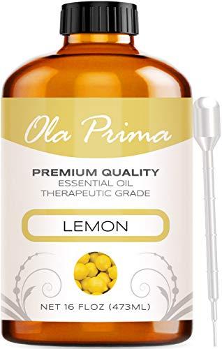 Ola Prima 16oz - Premium Quality Lemon Essential Oil (16 Ounce Bottle) Therapeutic Grade Lemon Oil