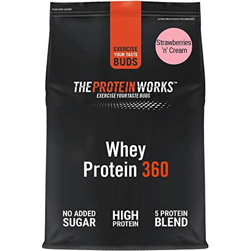 THE PROTEIN WORKS Whey Protein 360 Powder | High Protein Shake | No Added Sugar and Low Fat | Protein Blend | Strawberries 'n' Cream | 600 g