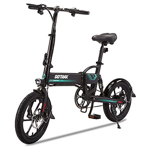 "Gotrax Folding Electric Bike 16"" - 15.5MPH & 27.9 Mile Range - 350W Motor Lightweight Commuter E-Bike (Black)"