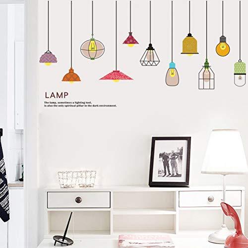 QingyU Muurstickers, 3D Vivid Colorful Lamp Light muurstickers, wanddecoratie voor uw huis