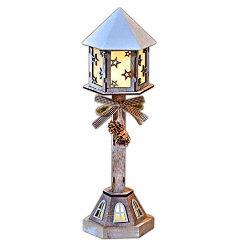 LED Laterne aus Holz 38 cm Holzlaterne Dekoration Beleuchtung Dekolaterne Leuchte Holzdeko Batteriebetrieb