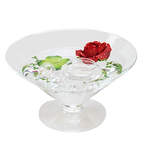 Runde Glas-Schale Kegel groß Höhe 12cm ø 22cm. Flache kegelförmige Glasschale auf Fuß mit Dekoration Rose rot Deko-Schale von Glaskönig