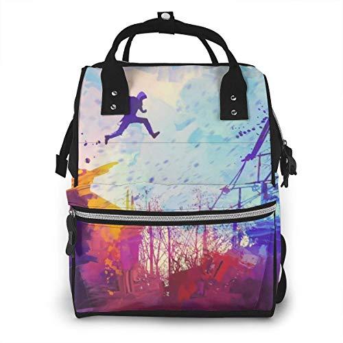 Parkour Urban Free Running Mochila con bolsa de pañales Sport Art de estilo libre, bolsa de viaje para almacenamiento de pañales para bebés