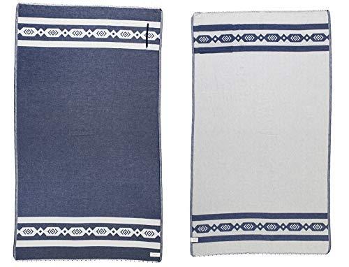Bersuse 100% Bio-Baumwolle GOTS-Zertifikat - Acapulco Strandtuch - 95 x 175 cm, Marineblau/Natur
