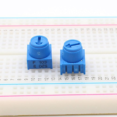 HELLOYEE 10K Ohm Breadboard Trim Potentiometer with Knob for Arduino (Pack of 10)