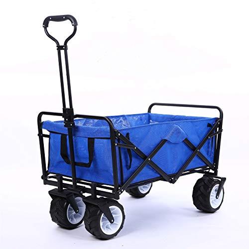 Carrito de jardín plegable con freno plegable de utilidad de 80 kg de carga máxima, resistente, portátil, ligero, para playa, jardín, picnic, resistente, para ping pong, color azul