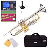 Mendini By Cecilio Bb Trumpet - Brass, Intermediate+Stand,Pocketbook,Tuner Trumpets w/Instrument Case, Cloth, Oil, Gloves - Musical Instruments For Beginner or Experienced Kids, Adults