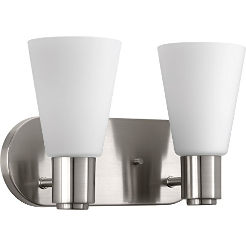 Progress Lighting P2155-09 Logic Two-Light Bath, Brushed Nickel